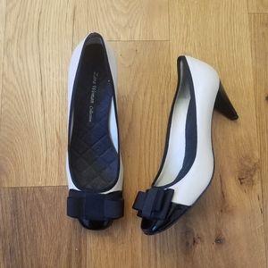 Zara bone and black bow heels